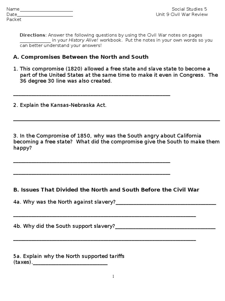 Unit Civil War Review Packet American Civil War Union - When did california become part of the united states