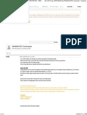 Win Rar Sfx Commands | Windows 2000 | Html