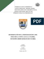 Determinación de La Fertilidad Básica Del Suelo de La Cuenca Alta La Culebra, Municipio Libertador Estado Táchira