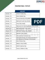 Important Days Full List Entrancegeek