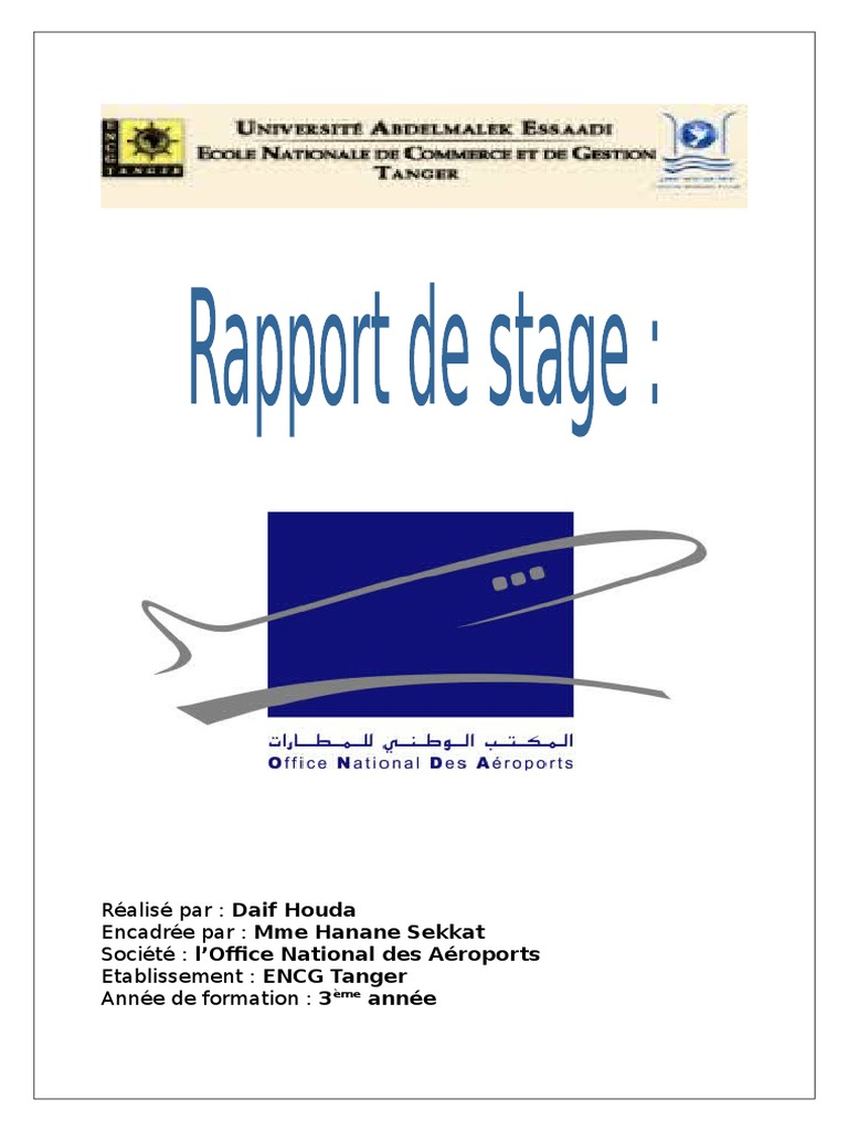 Rapport de stage d 39 observation l 39 onda - Office national des aeroports recrutement ...