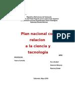 Plan Nacional Con Relación a La Ciencia y Tecnologia