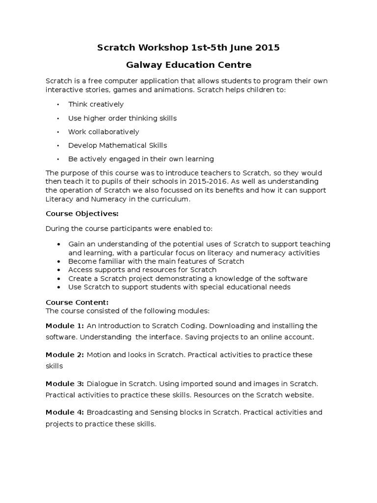 Scratch Workshop Summary