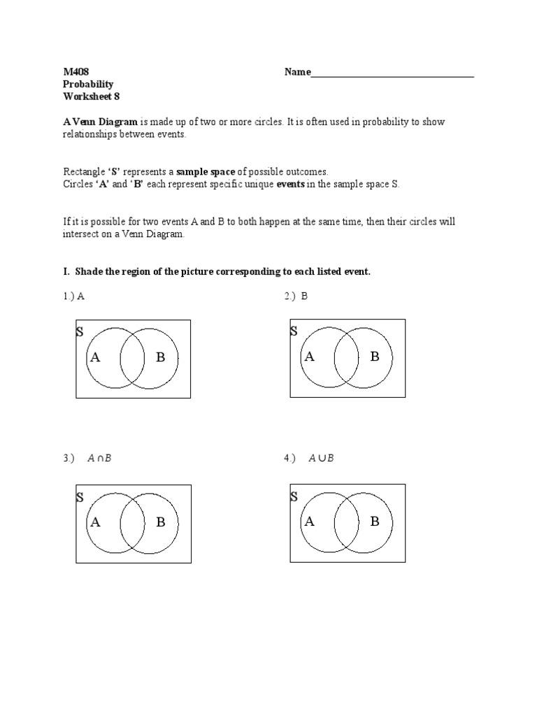 probability worksheet 1 1 | probability | probability theory