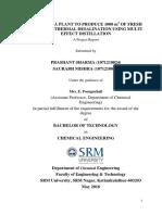 Multi effect distillation desalination