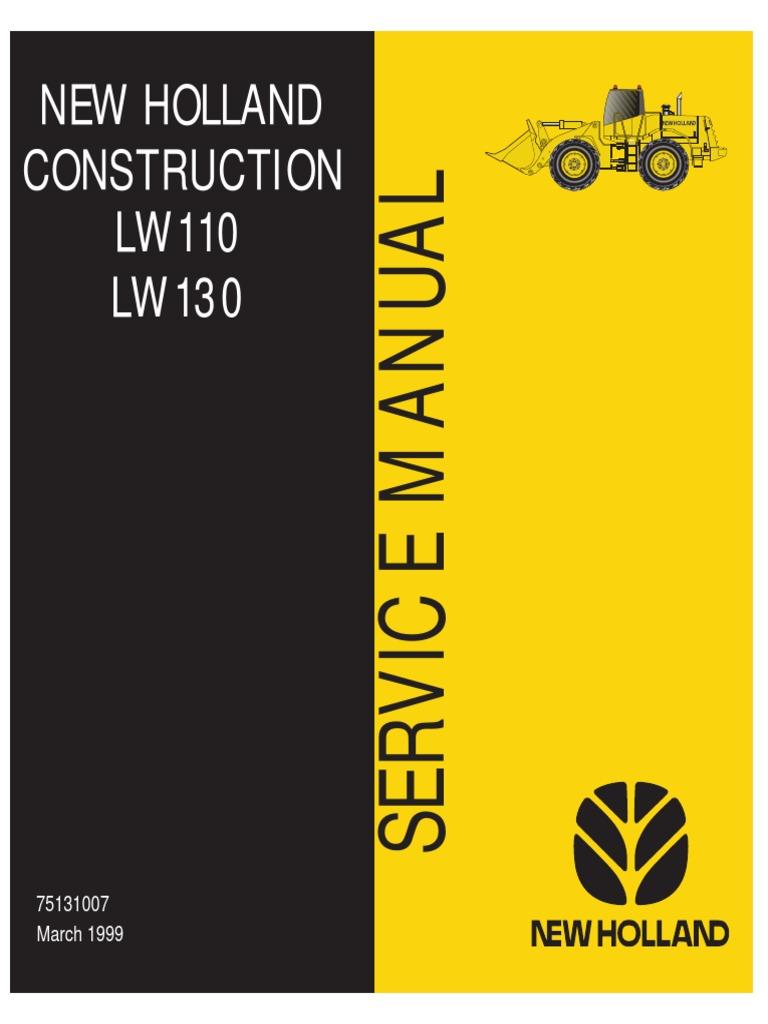 New Holland LW110 LW130 Loader Service Manual   Transmission ... on