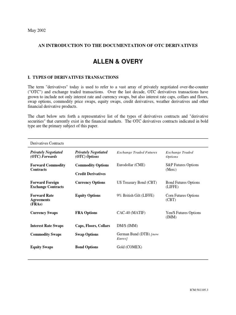 Isda Documentation Of Derivatives Swap Finance Derivative