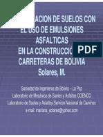Estabilizacion de Suelos Mediante Emulsiones Bolivia
