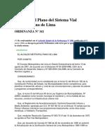 Plano Del Sistema Vial Metropolitano ORDENANZA_Nro_341