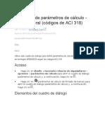 Definición de Parámetros de Cálculo Ficha General Códigos de ACI 318
