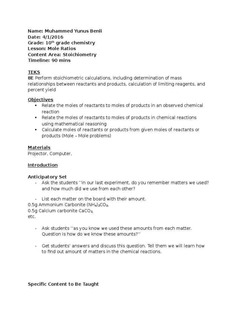 Muhammed Benli Instructional Project 5 Lesson Plan Stoichiometry