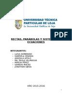 Informe Rectas Parabolas y Sistema de Ecuaciones