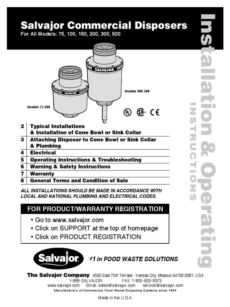 Salvajor Disposal Wiring Diagram Single Phase 208 Circuit 230 Vac Motor Schematic For Light Switch Dispos Sink Prices Rh Es Scribd Com 120 Volt