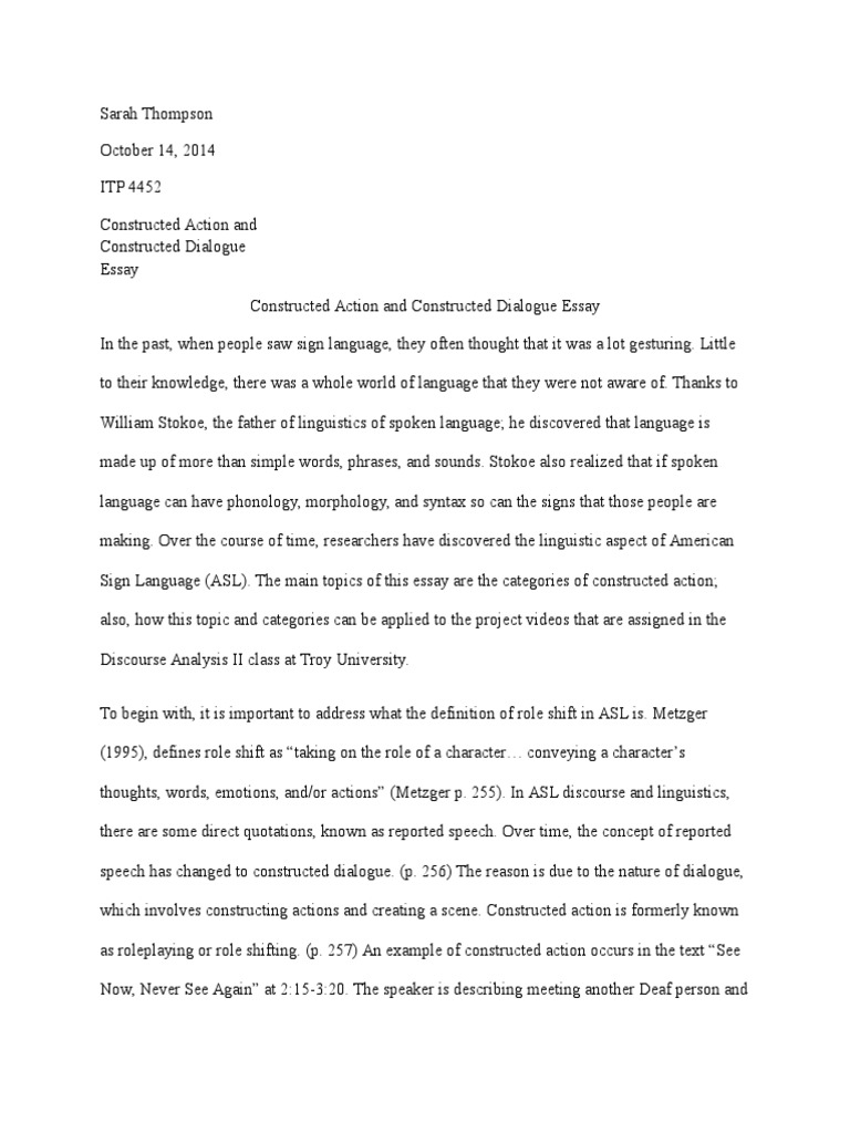 Essay On Independence Day Sarah Thompson Constructed Action And Constructed Dialogue Essay  American  Sign Language  Linguistics War On Drugs Essay also Essay On Hero Sarah Thompson Constructed Action And Constructed Dialogue Essay  Essay My Village