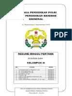 Resume Minggu Pertama Kelompok III