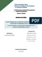 Mémoire Management de La Qualité Au Sein Des PME Marocaines