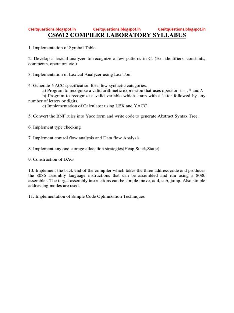 Cd Lab Manual Compiler Software Engineering