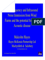 Low Frequency and Infrasound Noise Immission From Wind Farms and the Potential for Vibro Acoustic Disease - Malcolm Hayes