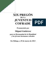 Pregón Juventud 2014. Miguel Gutiérrez