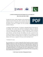 3. a Note on Secondary Data in Pakistan - HealthCare Indicators