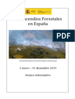 Los incendios forestales en España 2015. Avance informativo