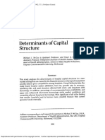 McCue Michael J, Determinants of Capital Structure