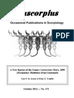 A New Species of the Genus Centruroides Marx, 1890 (Scorpiones