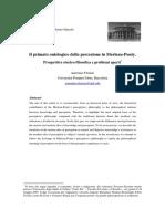 Primato ontologico della percezione in Merleau-Ponty