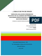 Vicente Durán, Ma. Pilar_TFG_Detección, Evaluación e Intervención Educativa Con El Alumnado Que Presenta Altas Capacidades Intelectuales en La Etapa de La Educación Primaria