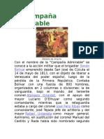 La Campaña Admirable y paso de los andes de bolivar