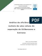 Análise Da Eficiência de Recheio de Uma Coluna de Separação de Etilbenzeno e Estireno