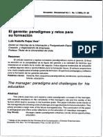 Elgerente-paradigmas y Retos Para Su Formacion