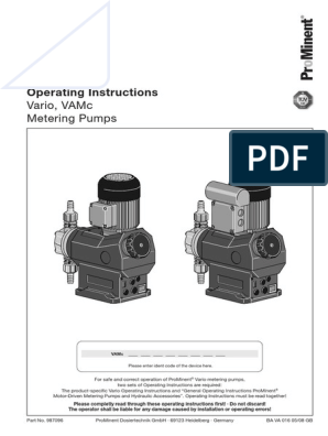 Operating Manual VAMc | Pump | Valve