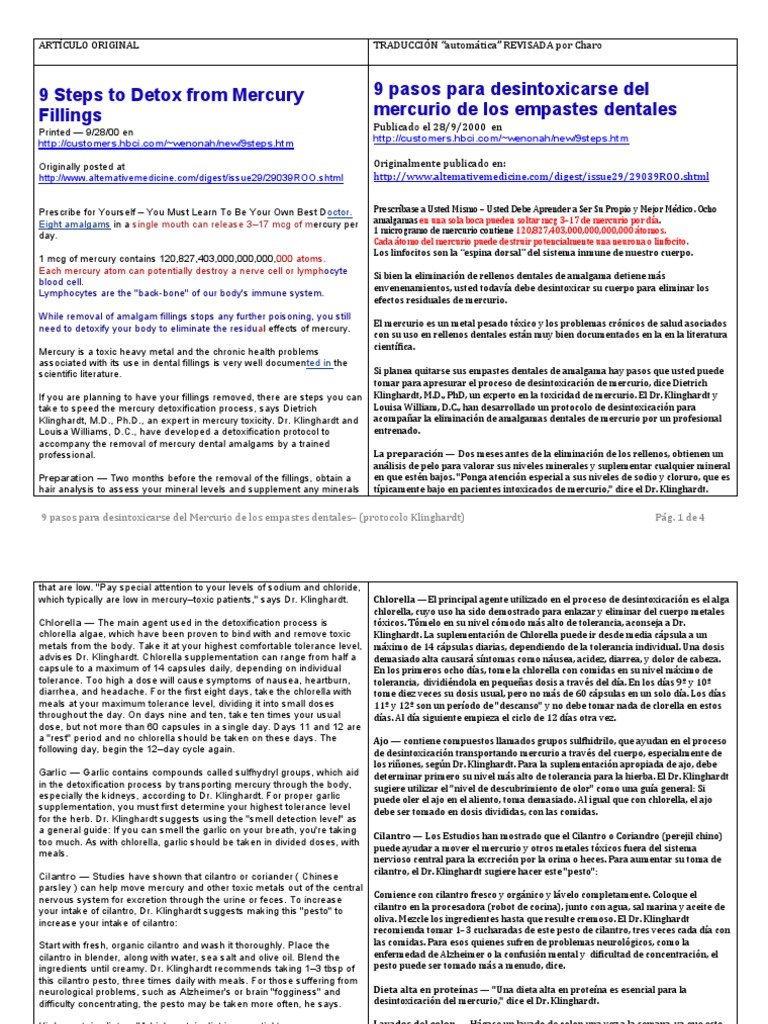 9 Pasos Detox Mercurio Empastes Dentales--Protocolo Klinghardt
