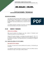 ESPECIFICACIONES TECNICAS  AULAS + SS.HH.