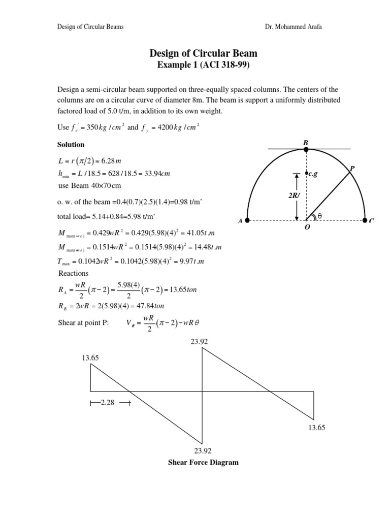 Design of Curved Beam (Plan View Curve) Example pdf