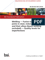BS en ISO 5817 2014 Welding. Fusion-welded Joints (Beam Welding Excluded) - Quality Levels for Imperfections Ref Only