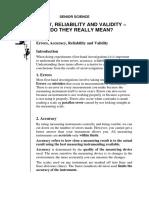 Reliability, Validity, Accuracy