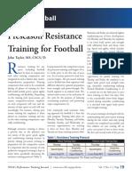 Preseason Resistance Training for Football