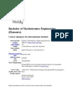 Bachelor of Mechatronics Engineering