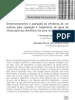 Freitas Et Al 2011 Dimensionamento Avaliacao Eficiencia Sistema Captacao Agua Chuva
