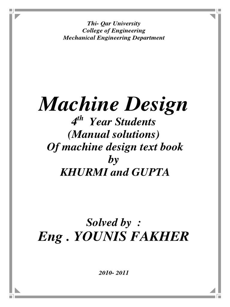 manualsolutionsformachinedesignbykhurmiandgupta