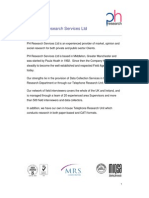 PH Research Services Ltd Market Research Brochure 2010