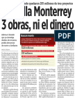 04-05-16 No halla Monterrey 3 obras, ni el dinero