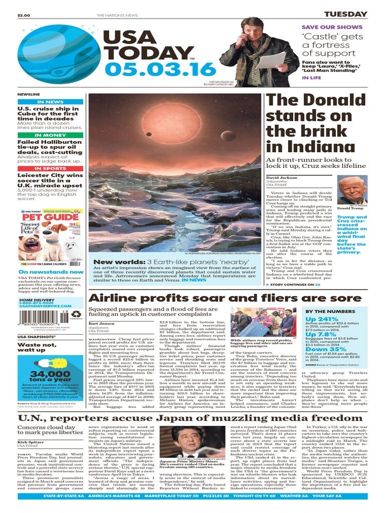 USA Today Newspaper May 3 2016.pdf | Muqtada Al Sadr | Donald Trump