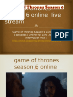 Game of Thrones Season 6 Online Live Stream