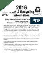 Trash Recycling Brochure