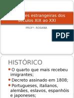 Migrações Estrangeiras Dos Séculos XIX Ao XXI