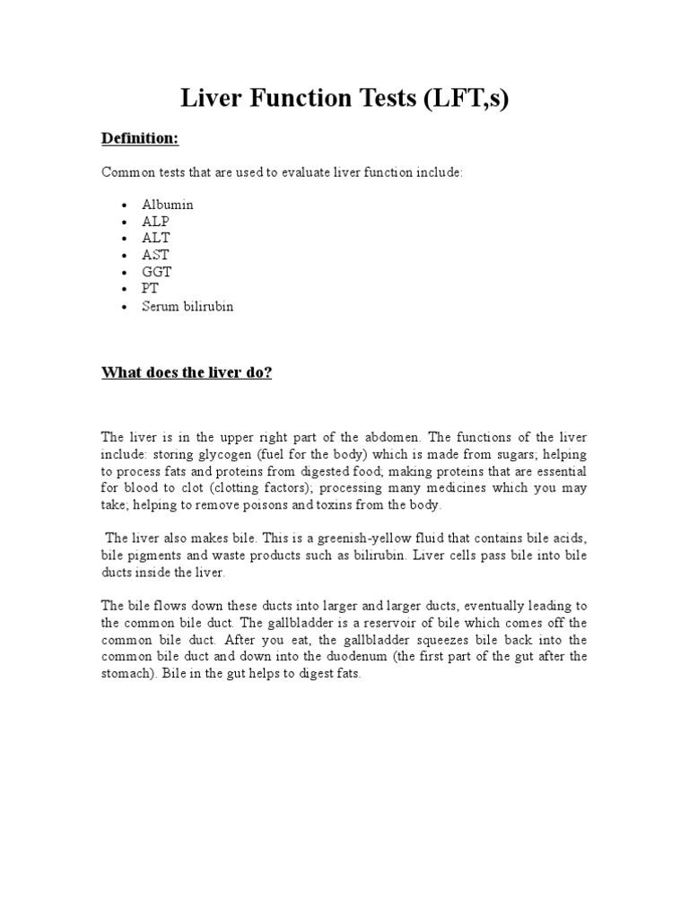 Liver Function Tests Practical Handout For 2nd Year Mbbs Liver Bile
