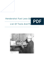List of Parts and Tools